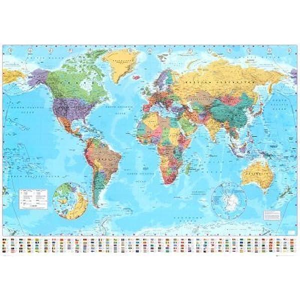 Póster de gran tamaño Mapa del mundo, Tamaño: 140 x 99 c (Versión En Inglés): Amazon.es: Juguetes y juegos
