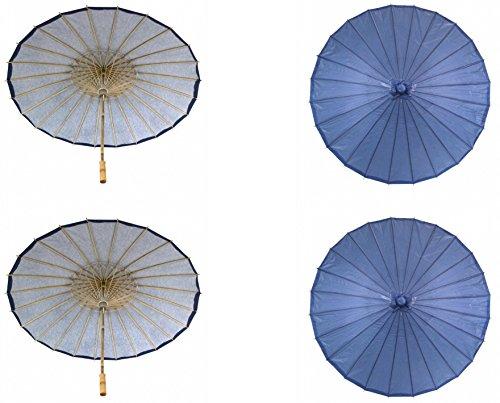 Koyal Wholesale 32-Inch Paper Parasol, 4-Pack Umbrella for Wedding, Bridesmaids, Party Favors, Summer Sun Shade (4, Navy Blue)