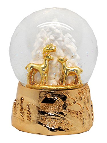 20048 Schneekugelhaus Reindeer Duo Gold Snow Globe 5.5 Rosé Base & Music Box (Snow Globe Jar)