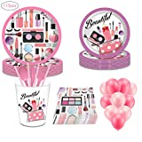 113 Pack Spa Makeup Birthday Party Supplies, DreamJ Spa Makeup Disposable Tableware with Spa Makeup Plates Cups Napkins Balloons More for Girls Spa Party Decorations