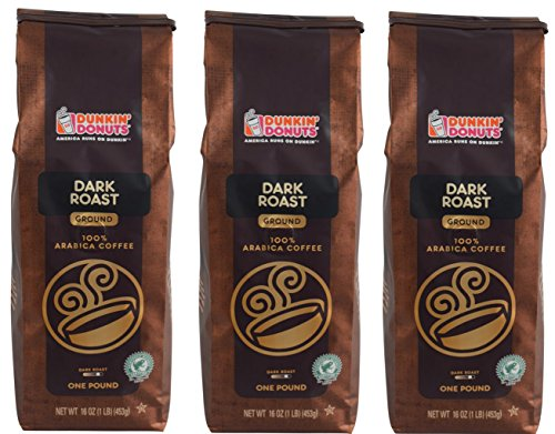 Dunkin' Donuts Ground Coffee (Three Pack, Dark Roast) (Dunkin Donuts Roast Coffee Dark)