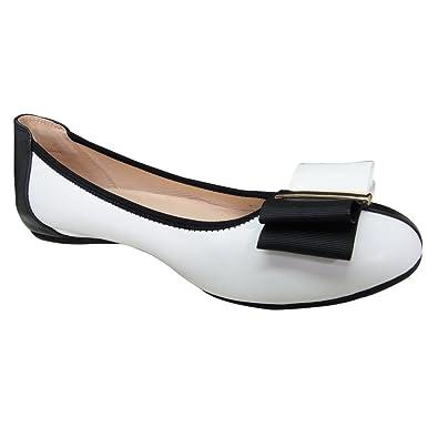 f86c8e4abe5fd7 Mocassins Ballerines Sandales Chaussures bateau de Travail femme femmes  Cuir Souple Noir - Blanc 41 283