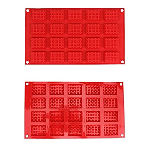 ZJCilected 20-Cavity Non-Stick Silicone Waffle Muffin Mold Home Kitchen Bakeware Baking Tool, Red