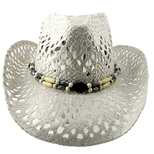 Silver Fever Ombre Woven Straw Cowboy Hat with Cut-Outs,Beads, Chin Strap (White, Beaded) ()