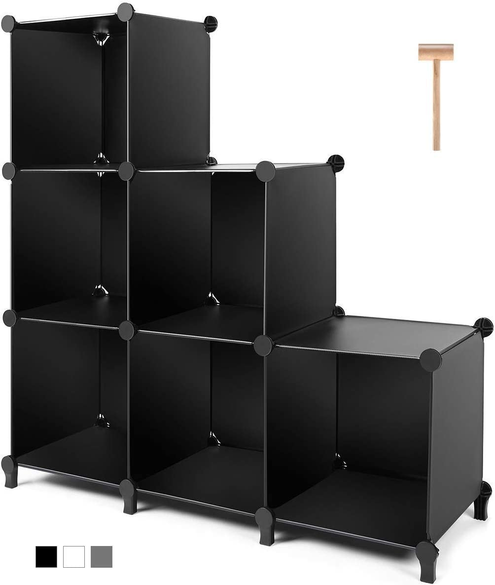 TomCare Cube Storage 6-Cube Closet Organizer Storage Shelves Cubes Organizer DIY Plastic Closet Cabinet Modular Book Shelf Organizing Storage Shelving for Bedroom Living Room Office, Black: Furniture & Decor