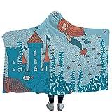 """ISMYPRINT Hoodie Wearable Blanket Modern Super Soft Warm Comfy Large Fleece Retro Style Popcorn Art Image Home Cafe Design Kitchenware Cardboard Vintage Cinema (Kids 50""""x 60"""")"""