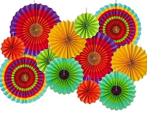 (Moon Boat 12 Paper Fan Mexican Fiesta/Cinco De Mayo /Carnival/ Kids Party Hanging Decoration Supplies)