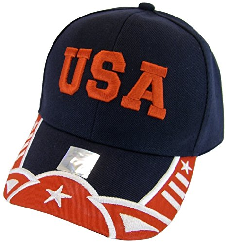 USA Patriotic Men's Stars & Stripes Adjustable Baseball Cap (Navy/Red) ()