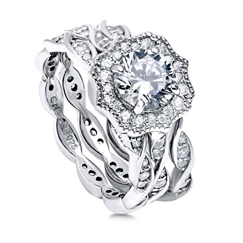 BERRICLE Rhodium Plated Sterling Silver Round Cubic Zirconia CZ Art Deco Halo Milgrain Engagement Wedding Ring Set 1.96 CTW Size 7 ()