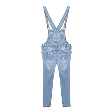 Fieer Womens Skinny Denim Stylish Pockets Ripped Destroyed Bib Overalls
