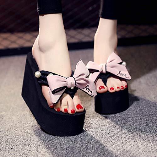 Dames Chaussures Femme Bowknot Filles Pantoufles Plage Compensées Sandales De Compensees Perle Pink Tongs Femmes qFxftq1Zp