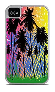 Palm Trees Artwork White 2-in-1 Protective Case with Silicone Insert for Apple iPhone 4 / 4S