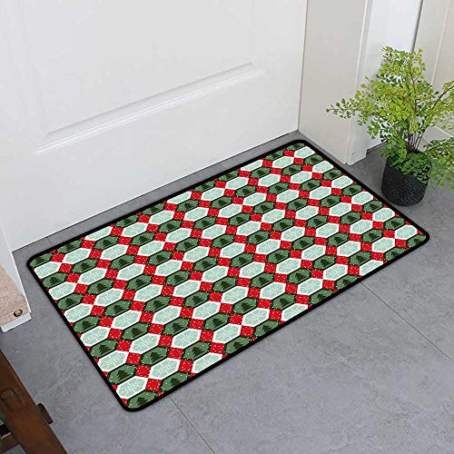 - Custom&blanket Scraper Entrance Mat, Geometric Doormats for Living Room, Hexagon Shapes with Snowflake and Pine Tree Design Winter Themed (Reseda and Hunter Green Red, H32 x W48)