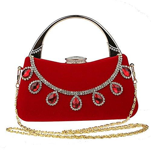 ELEOPTION Women's Rhinestone Evening Purse Pearl Beaded Handbag Metal Frame Large Clutch Bag Wedding Handbags Carved Handle (Red) (Clutch Frame Elegant)