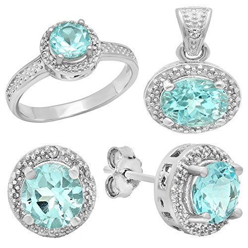 Sterling Silver Blue Topaz & White Diamond Accent Ladies Halo Engagement Ring, Earring & Pendant (Diamond Accent Jewelry Set)