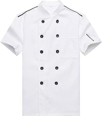 Cocina Uniforme Camisa de Cocinero Manga Corta: Amazon.es: Ropa y accesorios
