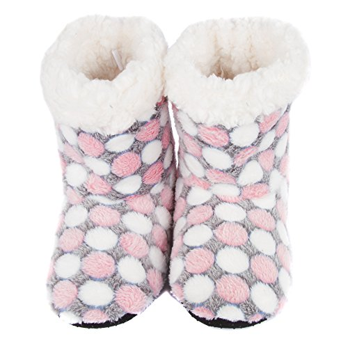 Lined Coral Fleece Dots Slippers Leisureland Women's Bootie gqxRRS