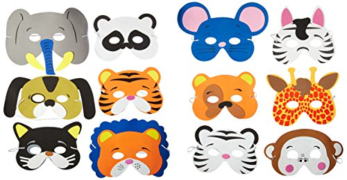 Rhode Island Novelty 24 Assorted Foam Animal Masks for Birthday Party Favors Dress-Up Costume