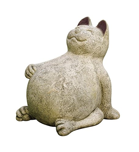 Volcanic Ash Lucky Cat indoor outdoor garden stone sculpture 9L x 7-1/2W x 9-1/2H