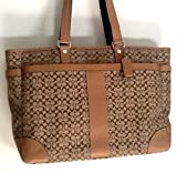 Coach Khaki Mini Signature Travel Weekend Carryall Diaper / Laptop Tote Bag Style # F77012 / 77012