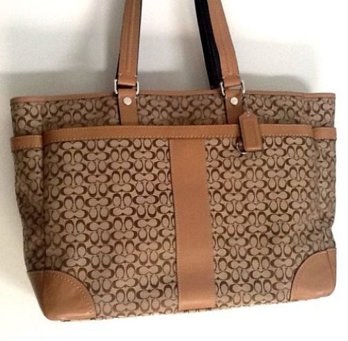 Khaki Hampton (Coach Khaki Mini Signature Travel Weekend Carryall Diaper / Laptop Tote Bag Style # F77012 / 77012)
