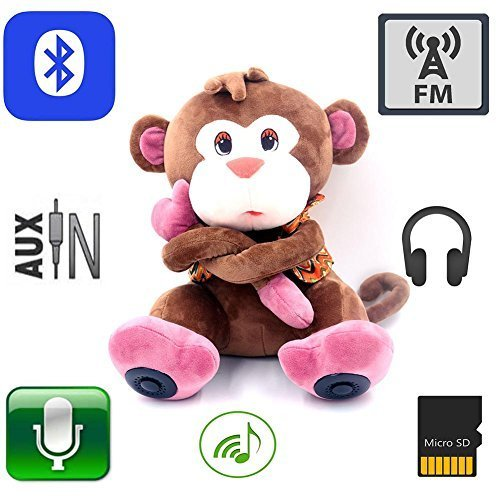 12 Inches Multifunction Monkey Plush Toy Bluetooth Wireless Micro SD Memory Card Stereo Speaker w/FM Radio Microphone Rechargeable Battery Color Brown(Gift Retail Package)