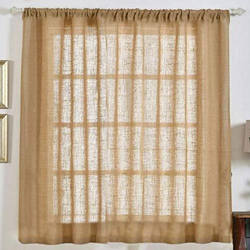 Tableclothsfactory 2 Panels 52x64 Eco Friendly Burlap Jute Rustic Home Curtain Backdrop Panels with Rod Pocket for Window Wall Decoration