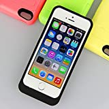 Amoji Rechargeable Battery Case 4200 mAh/2200 mAh for iPhone 5/5S/5C Charger Case Portable Charging Case with LED Display and USB Port (Black, 514 iPhone 5C)