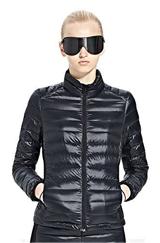 4YANG Women's Packable Lightweight Spring Down Puffy Jacket Padded Jacket Windbreaker Coat Black S(Clearance Black Friday)