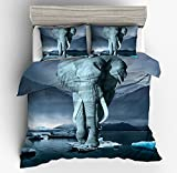 Fantastic Lonely Ice Elephant Cotton Microfiber 3pc 104''x90'' Bedding Quilt Duvet Cover Sets 2 Pillow Cases King Size