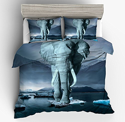 Fantastic Lonely Ice Elephant Cotton Microfiber 3pc 104''x90'' Bedding Quilt Duvet Cover Sets 2 Pillow Cases King Size by DIY Duvetcover