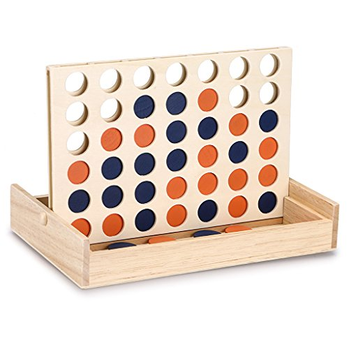 Sumnacon Wooden 4 in a Row Game, Classic Four in a Row Learning Board Game, Awakens Thinking Ability and Mentalit, Stimulate Potential Educational Board Games/Toys for Children Family, Line Up 4