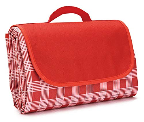 Extra Large Picnic Blanket with Tote,Foldable and Waterproof Sandproof Plaid Handy Mat for Outdoor Hiking Beach Travel Camping on Grass Red ()