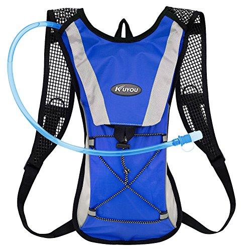 - KUYOU Hydration Pack Water Rucksack Backpack Bladder Bag Cycling Bicycle Bike/Hiking Climbing Pouch + 2L Hydration Bladder,(Blue+Water Pouch)