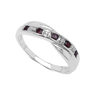 The Garnet Ring Collection Garnet Diamond Channel Set Crossover