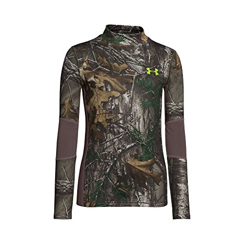 Under Armour Boys' ColdGear Armour Scent Control Mock, Realtree Ap-Xtra (946)/Velocity, Youth Medium