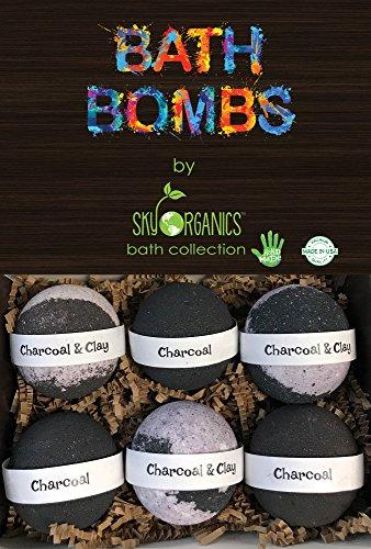Charcoal Bath Bombs Gift Set by Sky Organics, 6 x 5 Oz Ultra Lush Huge BLACK Bath Bombs, Aromatherapy, Relaxation, Moisturizing with Natural Essential Oils -Handmade Organic Spa Fizzies. Black Bath