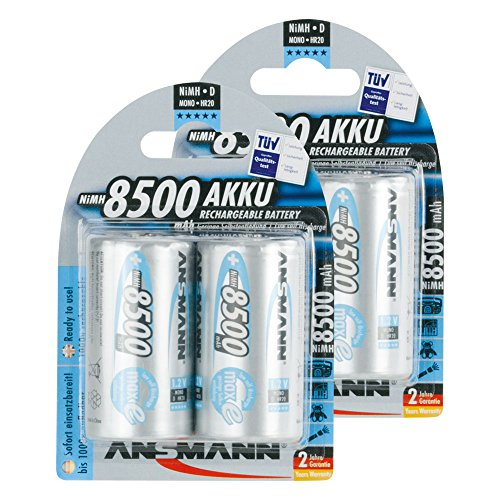 ANSMANN Rechargeable D Batteries 8500mAh maxE ready2use NiMH Professional D Battery pre-charged Power Accu for flashlight (4-Pack)