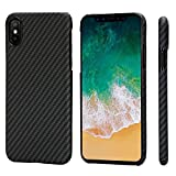 PITAKA iPhone X Case, Magcase Aramid Fiber, Slim Fit Ultra Thin(0.03in) Super Light(0.49oz) -Black/Grey(Twill)(Renewed)