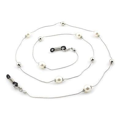 06853e50cb Chaine Lunettes Bijou Cordon Lunettes Attache Lunette pour Femme (Blanc)