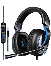 Sades R4 Stereo Gaming Headset for PS4, PC, New Xbox One, Noise Cancelling Over Ear Headphones with Mic, LED Light, Volume Control, Bass Surround for Laptop Mac iPad iPod Smartphones Computer Games