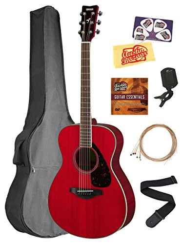 Yamaha FS820 Solid Top Small Body Acoustic Guitar – Ruby Red Bundle with Gig Bag, Tuner, Strings, Strap, Picks, Austin Bazaar Instructional DVD, and Polishing Cloth
