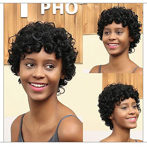 Aviat Short Hair Wigs Black Front Curly Hairstyle Synthetic Hair Replacement Wigs for Black Women for Party/Halloween/Cosplay/Daily Use -