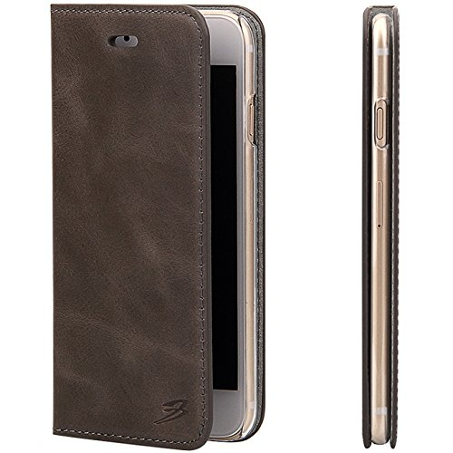 Cheap For iPhone 6/6s Wallet Case by Fierre Shann – Oil Wax Pattern Genuine Leather, Ultra Slim Protective Phone Cover (Grey)
