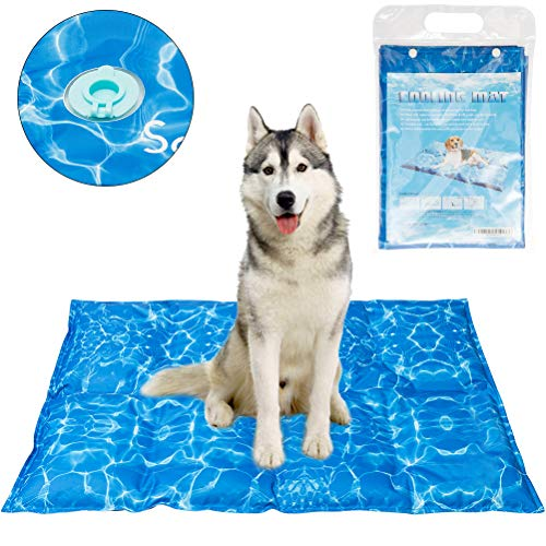 SCENEREAL Dog Cooling Mat Cool Dog Bed - Ice Water Pad for Dogs Cats Pets Summer Hot Days Sleeping Self Cooling Bed, ()