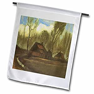 Florene Impressionism Art - Farm Houses Among Trees, Van Gogh - 18 x 27 inch Garden Flag (fl_49315_2)