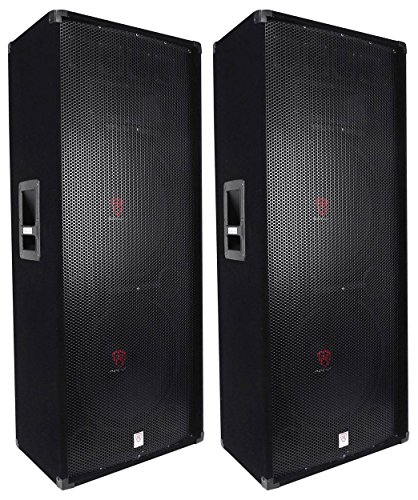 (2) Rockville RSG15.28 Dual 15 3000 Watt 3-Way 8-Ohm Passive DJ / PA Speaker by Rockville