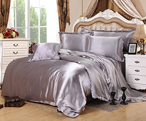 Lldaily 4-Piece Imitated Silk Fabric Duvet Cover Set,Luxury Bedding Sets,Silk Sheet Set with Ultra Soft Duvet cover+Pillowcases+Flat Sheet,Full,Gray - Piece 4 Bedding Silk