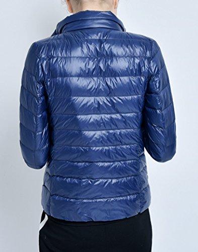 Elonglin Warm Windproof Collar Down Light Women's Puffer Weight Winter Elegant Ultra Coat Mao Packable Blue Dark Jacket 775Sqwr