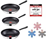 jamie oliver pots and pans - Tefal E85711 Jamie Oliver Pan set 3 pieces, 24 and 28 cm pan, 28 cm wok pan, pans with non stick, induction suitable, stainless steel frying pans, incl. 3 cups made of felt 38 cm